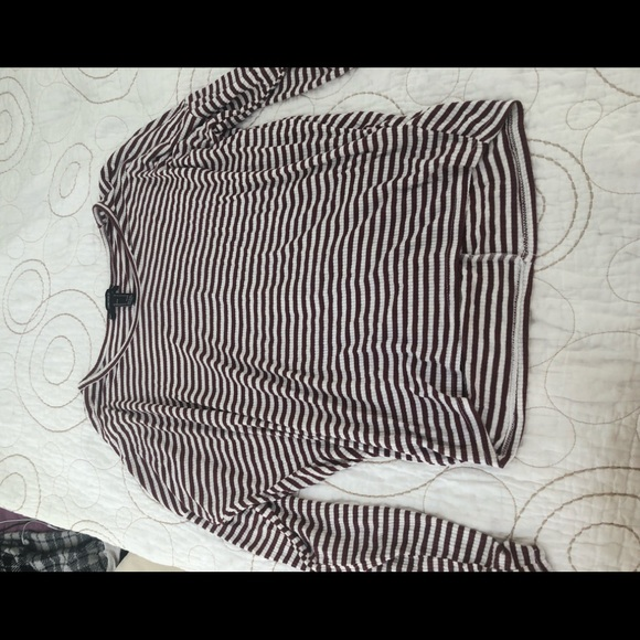 Forever 21 Tops - Maroon and white striped long sleeve